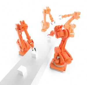 Industrial robots working on a production line